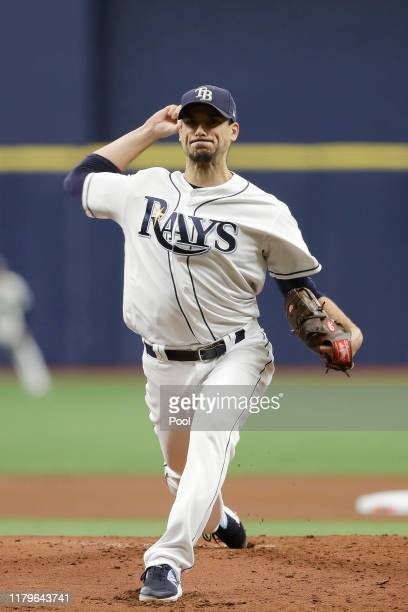 Charlie Morton of the Tampa Bay Rays delivers a pitch against the Houston Astros during the first inning in Game Three of the American League...