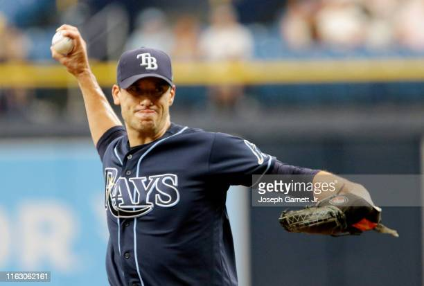 Charlie Morton of the Tampa Bay Rays delivers a pitch during the top of the first inning of their game against the Seattle Mariners at Tropicana...