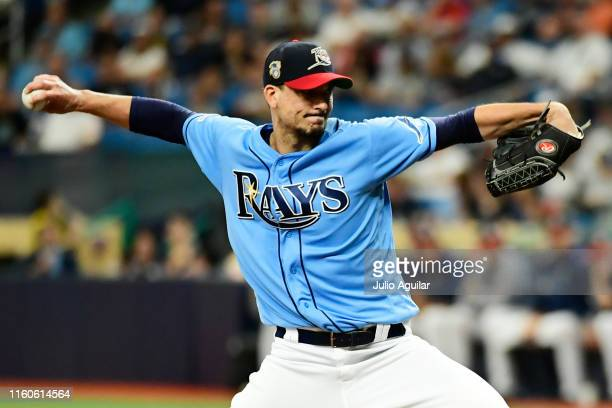 Charlie Morton of the Tampa Bay Rays delivers a pitch to the New York Yankees during the first inning of a baseball game at Tropicana Field on July...