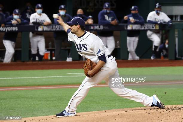 Charlie Morton of the Tampa Bay Rays delivers the pitch against the Los Angeles Dodgers during the first inning in Game Three of the 2020 MLB World...