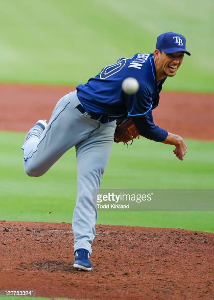 Charlie Morton of the Tampa Bay Rays delivers the pitch in the second inning inning of an MLB game against the Atlanta Braves at Truist Park on July...