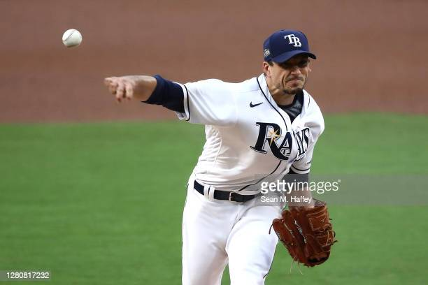 Charlie Morton of the Tampa Bay Rays pitches against the Houston Astros during the first inning in Game Seven of the American League Championship...