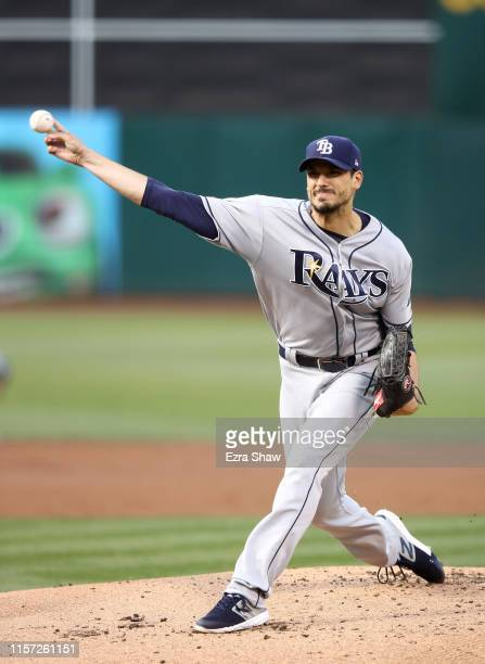 Charlie Morton of the Tampa Bay Rays pitches against the Oakland Athletics in the first inning at Ring Central Coliseum on June 20 2019 in Oakland...