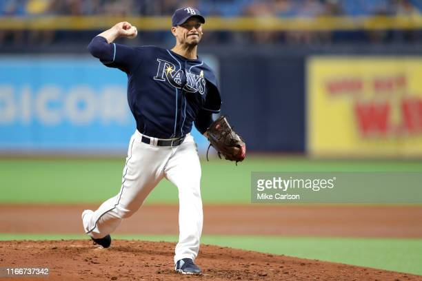 Charlie Morton of the Tampa Bay Rays pitches against the Toronto Blue Jays at Tropicana Field on Saturday September 7 2019 in St Petersburg Florida