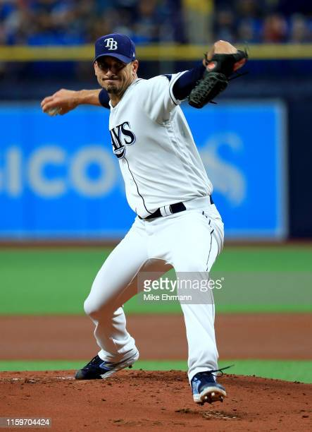 Charlie Morton of the Tampa Bay Rays pitches during a game against the Baltimore Orioles at Tropicana Field on July 02 2019 in St Petersburg Florida