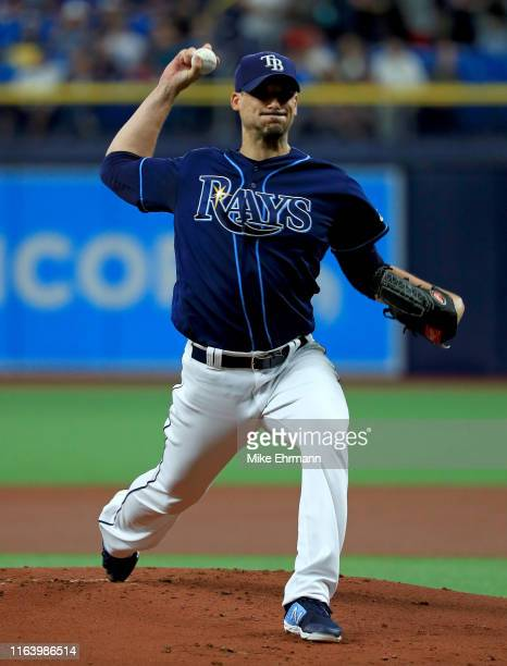 Charlie Morton of the Tampa Bay Rays pitches during a game against the Boston Red Sox at Tropicana Field on July 24 2019 in St Petersburg Florida