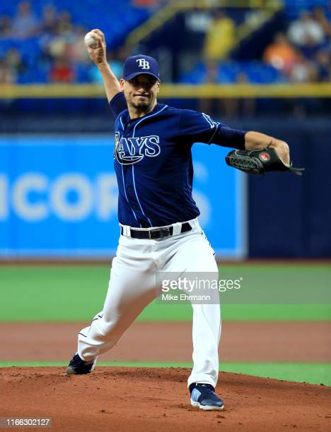 Charlie Morton of the Tampa Bay Rays pitches during a game against the Toronto Blue Jays at Tropicana Field on August 05, 2019 in St Petersburg,...