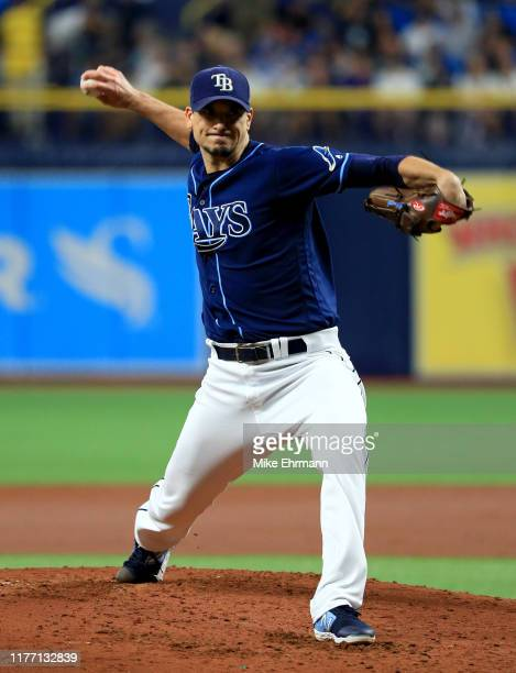 Charlie Morton of the Tampa Bay Rays pitches during a game against the New York Yankees at Tropicana Field on September 25, 2019 in St Petersburg,...