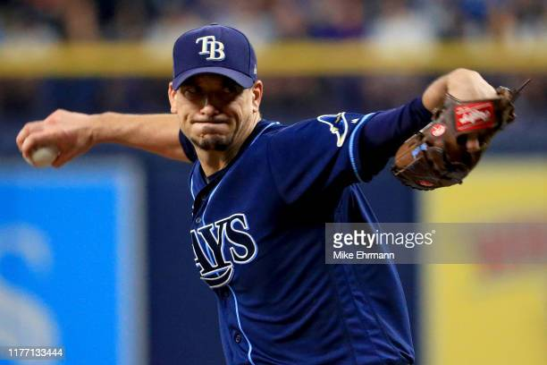 Charlie Morton of the Tampa Bay Rays pitches during a game against the New York Yankees at Tropicana Field on September 25 2019 in St Petersburg...