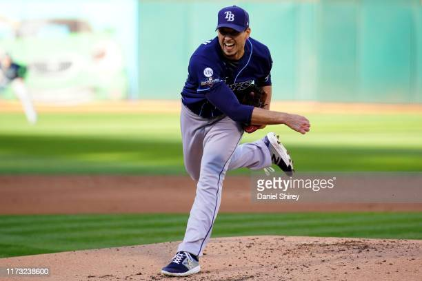 Charlie Morton of the Tampa Bay Rays pitches during the AL Wild Card game between the Tampa Bay Rays and the Oakland Athletics at Oakland Coliseum on...