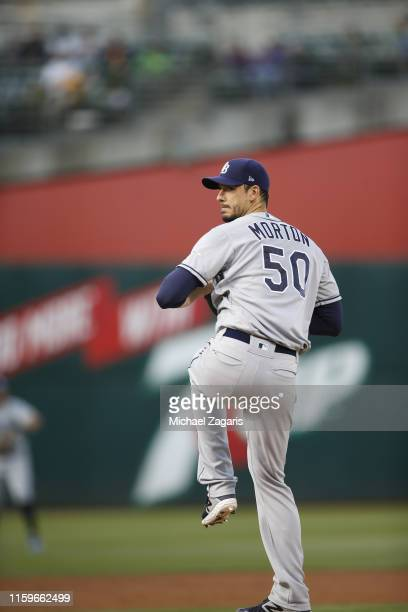 Charlie Morton of the Tampa Bay Rays pitches during the game against the Oakland Athletics at the Oakland-Alameda County Coliseum on June 20, 2019 in...