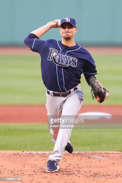 Charlie Morton of the Tampa Bay Rays pitches in the first inning of a game against the Boston Red Sox at Fenway Park on July 30 2019 in Boston...