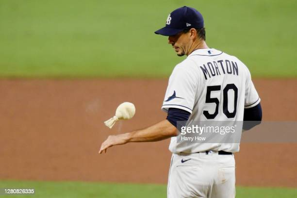 Charlie Morton of the Tampa Bay Rays reacts to walking Martin Maldonado of the Houston Astros during the sixth inning in Game Seven of the American...