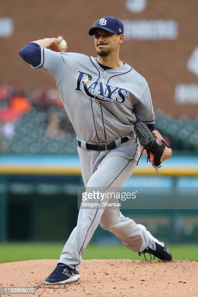 Charlie Morton of the Tampa Bay Rays throws a first inning pitch while playing the Detroit Tigers at Comerica Park on June 05 2019 in Detroit Michigan