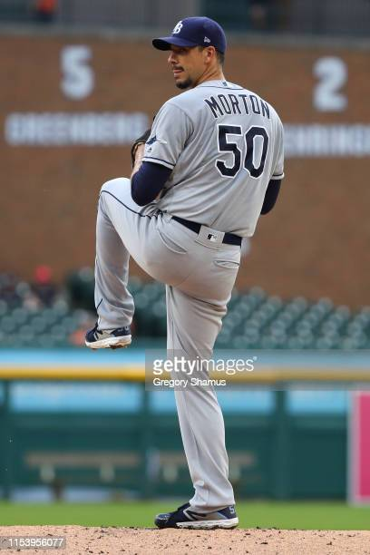 Charlie Morton of the Tampa Bay Rays throws a first inning pitch while playing the Detroit Tigers at Comerica Park on June 05, 2019 in Detroit,...