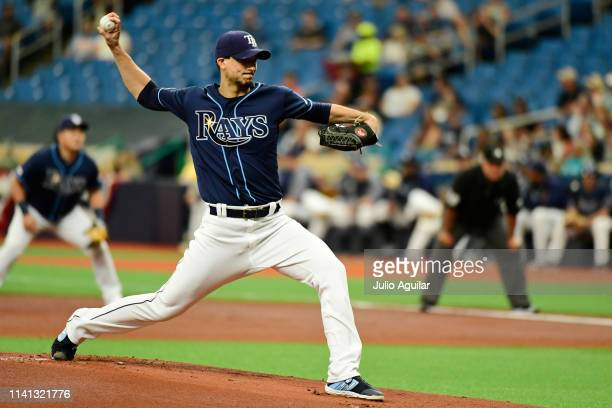 Charlie Morton of the Tampa Bay Rays throws a pitch against the Colorado Rockies at Tropicana Field on April 03 2019 in St Petersburg Florida