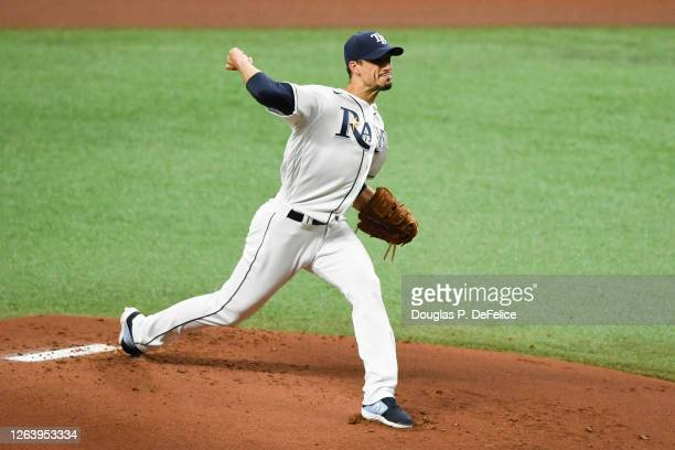 Charlie Morton of the Tampa Bay Rays throws a pitch during the first inning against the Boston Red Sox at Tropicana Field on August 04, 2020 in St...