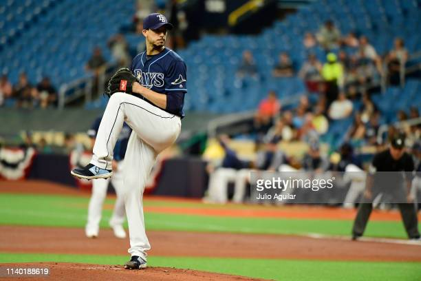 Charlie Morton of the Tampa Bay Rays throws a pitch in the first inning against the Colorado Rockies at Tropicana Field on April 03 2019 in St...