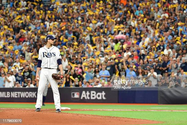 Charlie Morton of the Tampa Bay Rays waits to deliver a pitch against the Houston Astros during the third inning in Game Three of the American League...