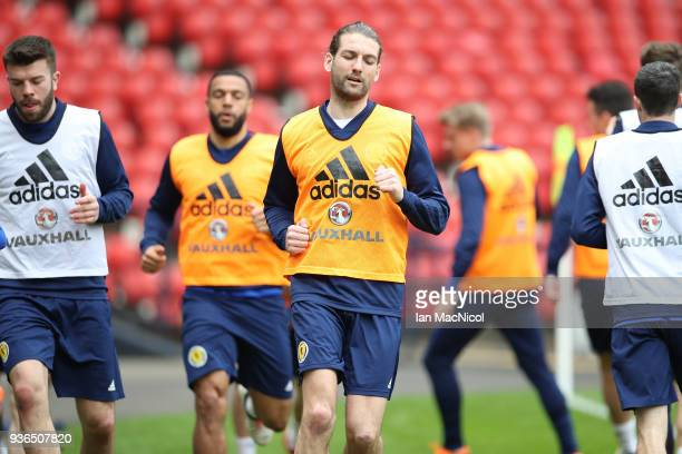 Charlie Mulgrew is seen at a training session ahead of the International friendly match between Scotland and Costa Rica at Hampden Park on March 22...
