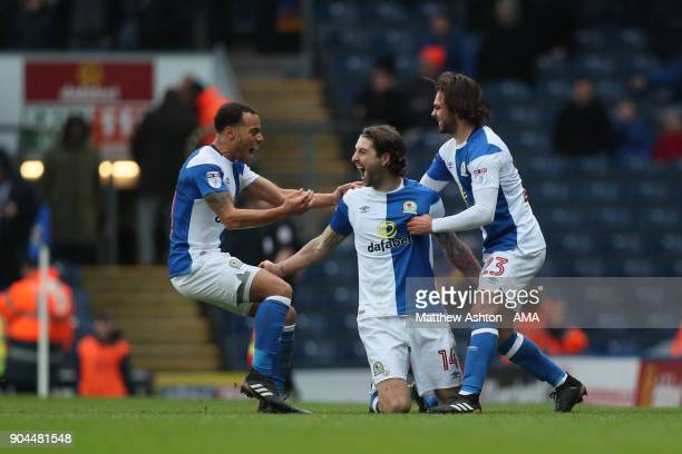 Charlie Mulgrew of Blackburn Rovers celebrates after scoring a goal to make it 10 during the Sky Bet League One match between Blackburn Rovers and...