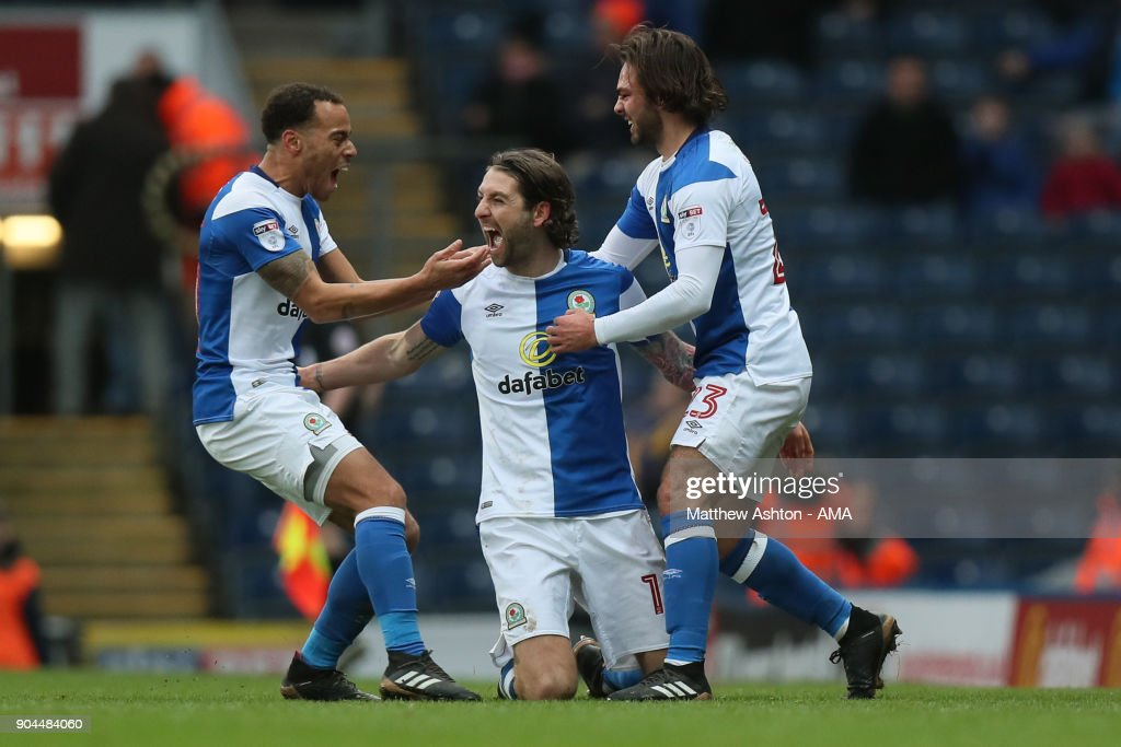 Charlie Mulgrew of Blackburn Rovers celebrates after scoring a goal to make it 1-0 during the Sky Bet League One match between Blackburn Rovers and Shrewsbury Town at Ewood Park on January 13, 2018 in Blackburn, England.