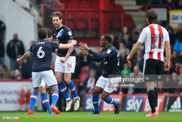 Charlie Mulgrew of Blackburn Rovers celebrates scoring his sides first goal with his Blackburn Rovers team mates during the Sky Bet Championship...
