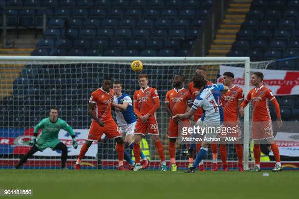 Charlie Mulgrew of Blackburn Rovers scores a goal to make it 10 during the Sky Bet League One match between Blackburn Rovers and Shrewsbury Town at...