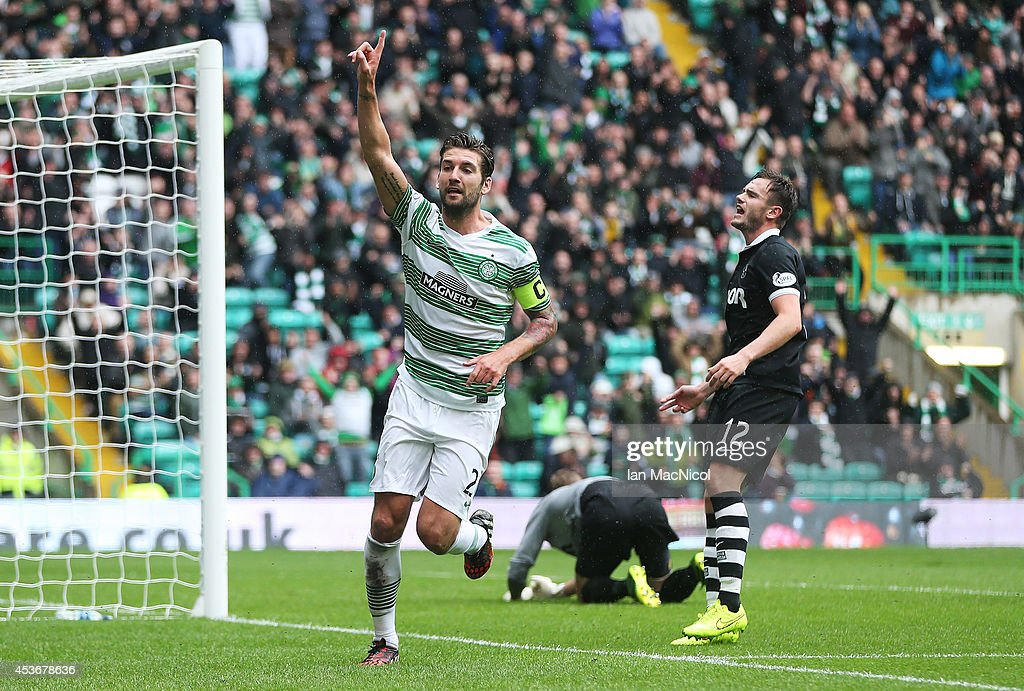 Charlie Mulgrew of Celtic celebrates after he scores during the Scottish Premiership League Match between Celtic and Dundee United, at Celtic Park on August 16, 2014 Glasgow, Scotland.