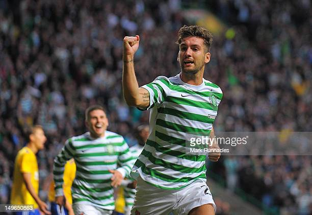 Charlie Mulgrew of Celtic celebrates after scoring the winning goal against HJK Helsinki during the Champions League third-round qualifier first leg...
