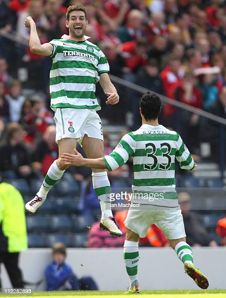 Charlie Mulgrew of Celtic celebrates scoring the opening goal during the Scottish Cup SemiFinal match between Aberdeen and Celtic at Hampden Park on...