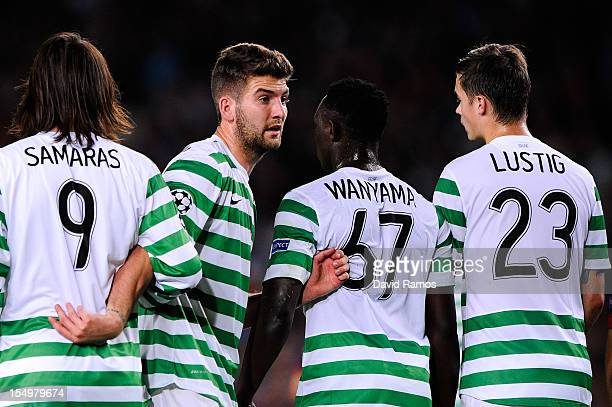 Charlie Mulgrew of Celtic FC looks on during the UEFA Champions League Group G match between FC Barcelona and Celtic FC at the Camp Nou Stadium on...
