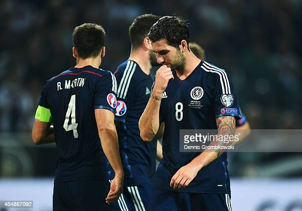 Charlie Mulgrew of Scotland looks thoughtful during the EURO 2016 Group D qualifying match between Germany and Scotland at Signal Iduna Park on...