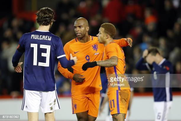 Charlie Mulgrew of Scotland Ryan Babel of Holland Memphis Depay of Holland during the friendly match between Scotland and The Netherlands on November...