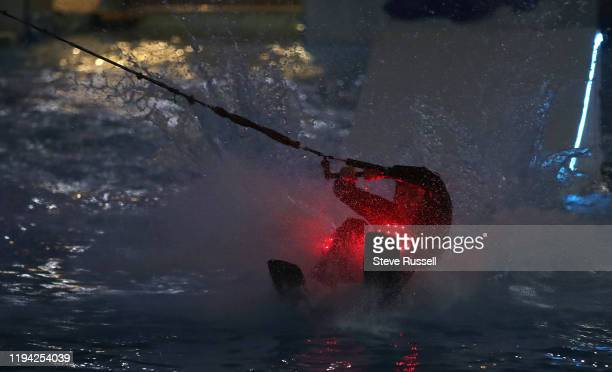 TORONTO ON JANUARY 17 Charlie Newlands from Summer Water Sports performs a trick on waterskis on the Lake created in the CocaCola Coliseum The hockey...