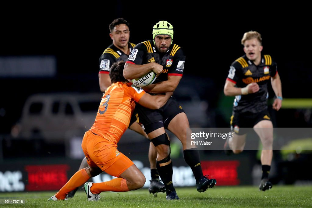 Charlie Ngatai of the Chiefs is tackled during the round 12 Super Rugby match between the Chiefs and the Jaguares at Rotorua International Stadium on May 4, 2018 in Rotorua, New Zealand.
