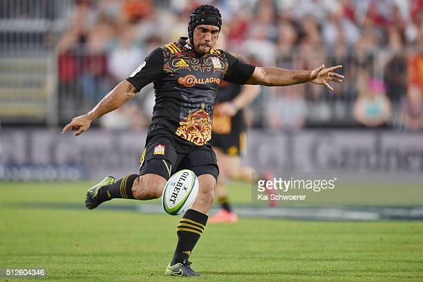 Charlie Ngatai of the Chiefs kicks the ball during the round one Super Rugby match between the Crusaders and the Chiefs at AMI Stadium on February 27...