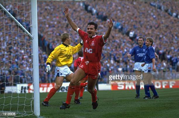 Charlie Nicholas of Aberdeen celebrates a goal during the Skol Cup Final match against Rangers at Hampden Park in Glasgow Scotland Aberdeen won the...