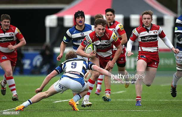 Charlie Norman of Gloucester attacks during the The U18 Academy Finals Day match between Bath and Gloucester at Allianz Park on February 17 2014 in...