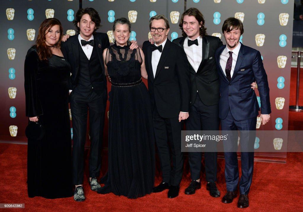 Charlie Oldman, Gisele Schmidt, Gary Oldman, Gulliver Oldman and Alfie Oldman attend the EE British Academy Film Awards (BAFTA) held at Royal Albert Hall on February 18, 2018 in London, England.
