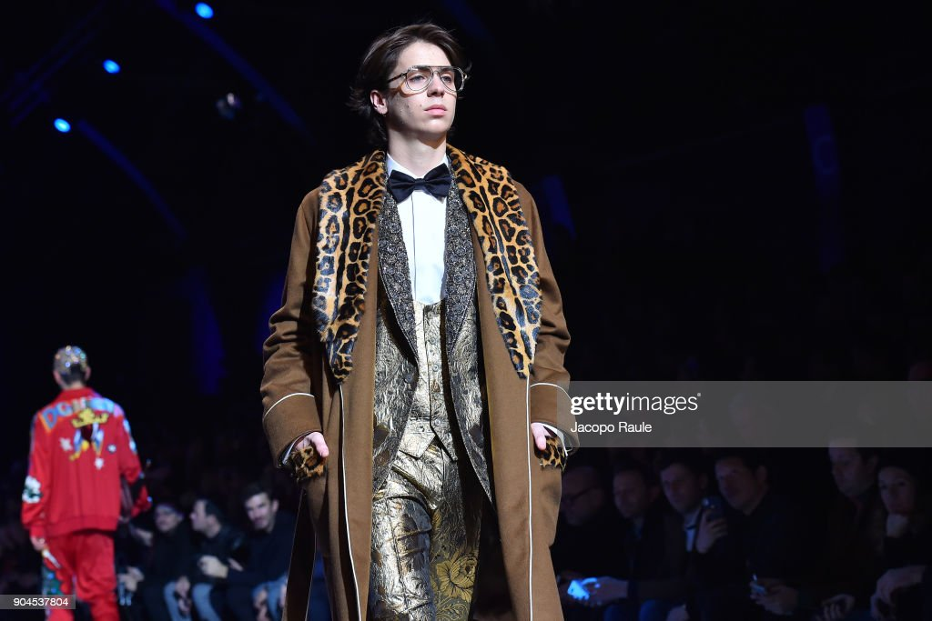 Charlie Oldman walks the runway at the Dolce & Gabbana show during Milan Men's Fashion Week Fall/Winter 2018/19 on January 13, 2018 in Milan, Italy.