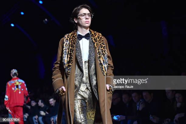 Charlie Oldman walks the runway at the Dolce Gabbana show during Milan Men's Fashion Week Fall/Winter 2018/19 on January 13 2018 in Milan Italy