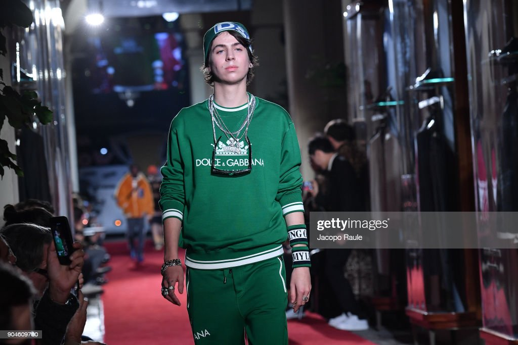 Charlie Oldman walks the runway at the Dolce & Gabbana Unexpected Show show during Milan Men's Fashion Week Fall/Winter 2018/19 on January 13, 2018 in Milan, Italy.