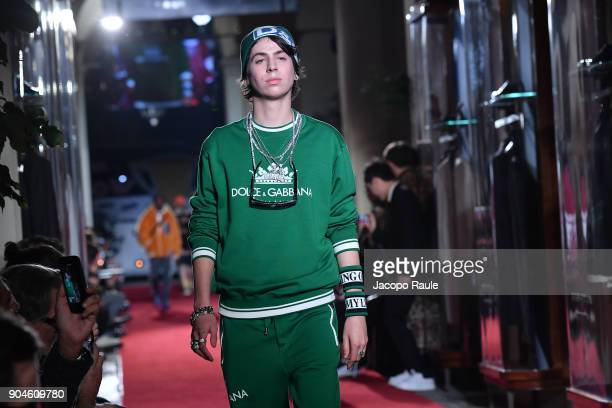 Charlie Oldman walks the runway at the Dolce Gabbana Unexpected Show show during Milan Men's Fashion Week Fall/Winter 2018/19 on January 13 2018 in...