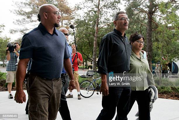 Charlie Otero his younger sister Carmen Montoya and other family members arrive at the Sedgwick County Courthouse on the first day of sentencing for...