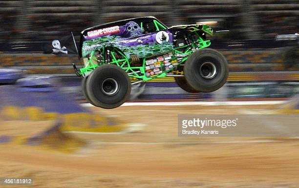 Charlie Pauken of Grave Digger of Monster Energy goes over the jump during Monster Jam at Queensland Sport and Athletics Centre on September 27 2014...
