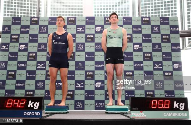 Charlie Pearson of Oxford University Boat Club and Freddie Davidson of Cambridge University Boat Club weigh in during The Boat Race Crew Announcement...
