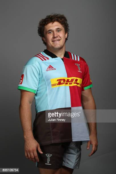 Charlie Piper of Quins poses for a portrait during the Harlequins photocall for the 20172018 Aviva Premiership Rugby season at The Stoop on August 18...