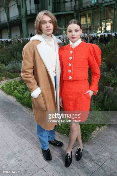 Charlie Plummer and Kristine Froseth attend the Chanel Haute Couture Spring/Summer 2020 show as part of Paris Fashion Week on January 21 2020 in...