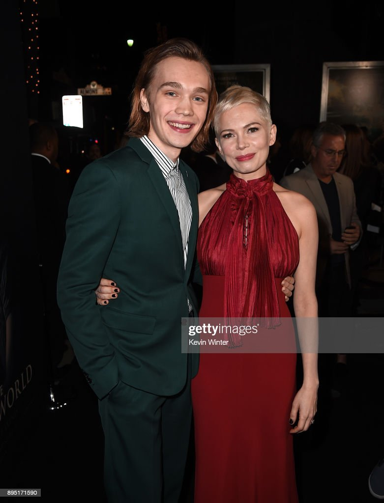 Charlie Plummer (L) and Michelle Williams attend the premiere of Sony Pictures Entertainment's 'All The Money In The World' at Samuel Goldwyn Theater on December 18, 2017 in Beverly Hills, California.